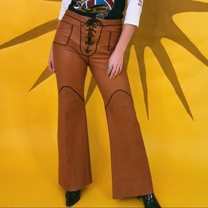 60s North Beach leather high waisted bell bottoms
